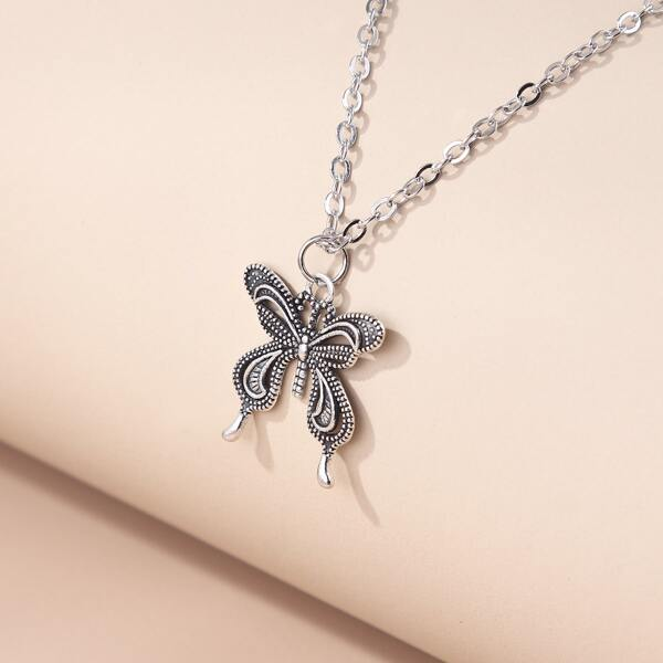 Butterfly Pendant Necklace, Antique silver