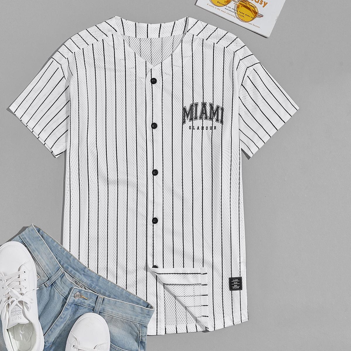 Мужской Рубашка с текстовым принтом в полоску сетчатый