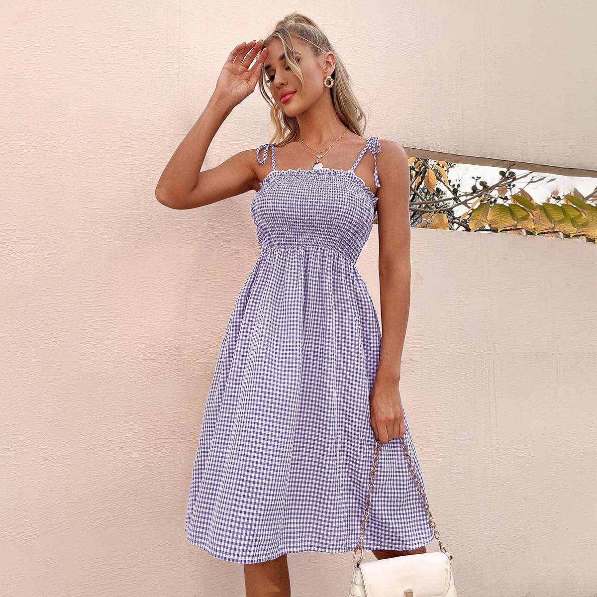 Платье на бретелях в клетку на бретелях с узлом SheIn swdress25210416119