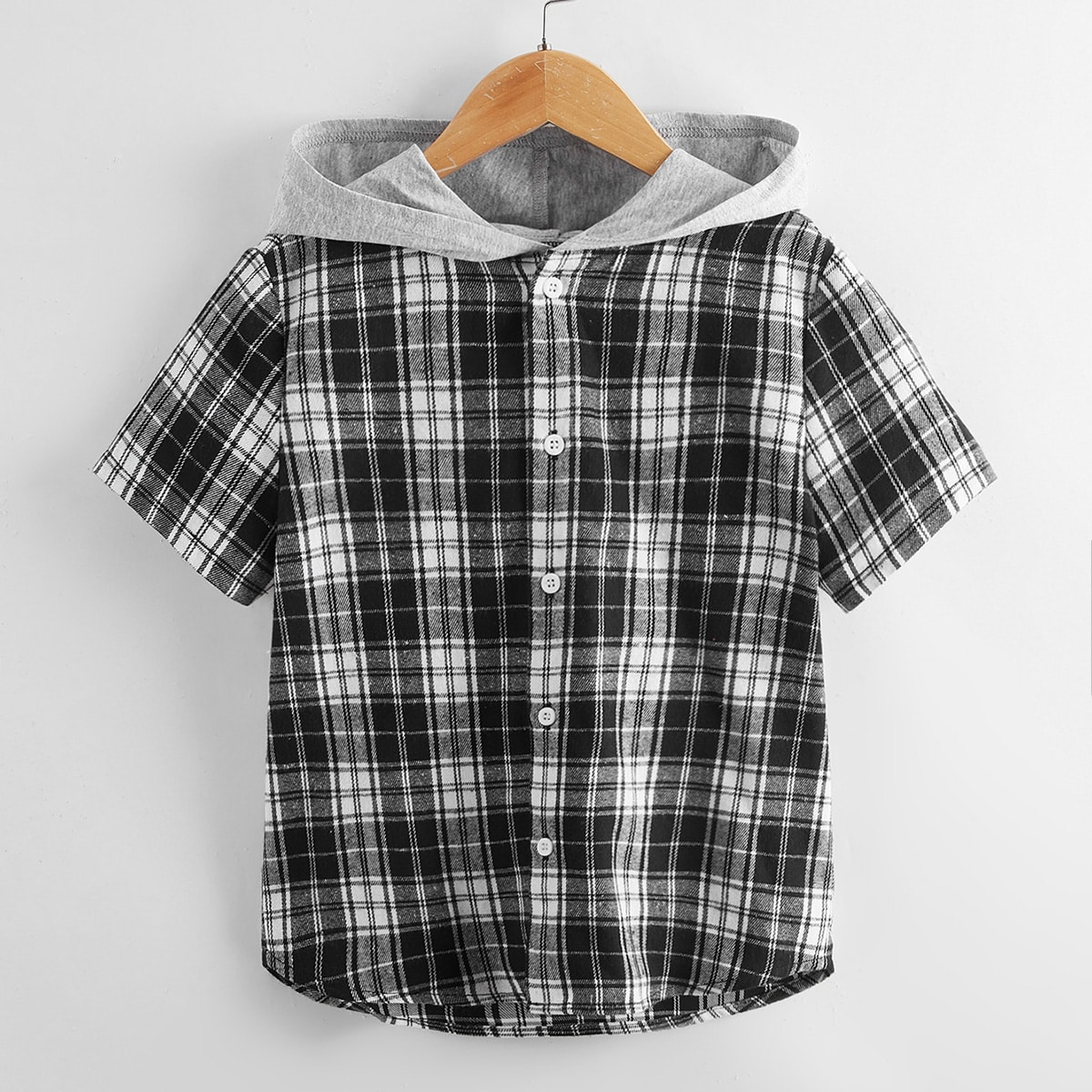 для мальчиков Рубашка контрастный с капюшоном в клетку