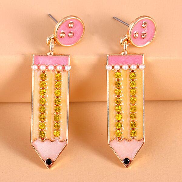 Pencil Design Earrings, Multicolor