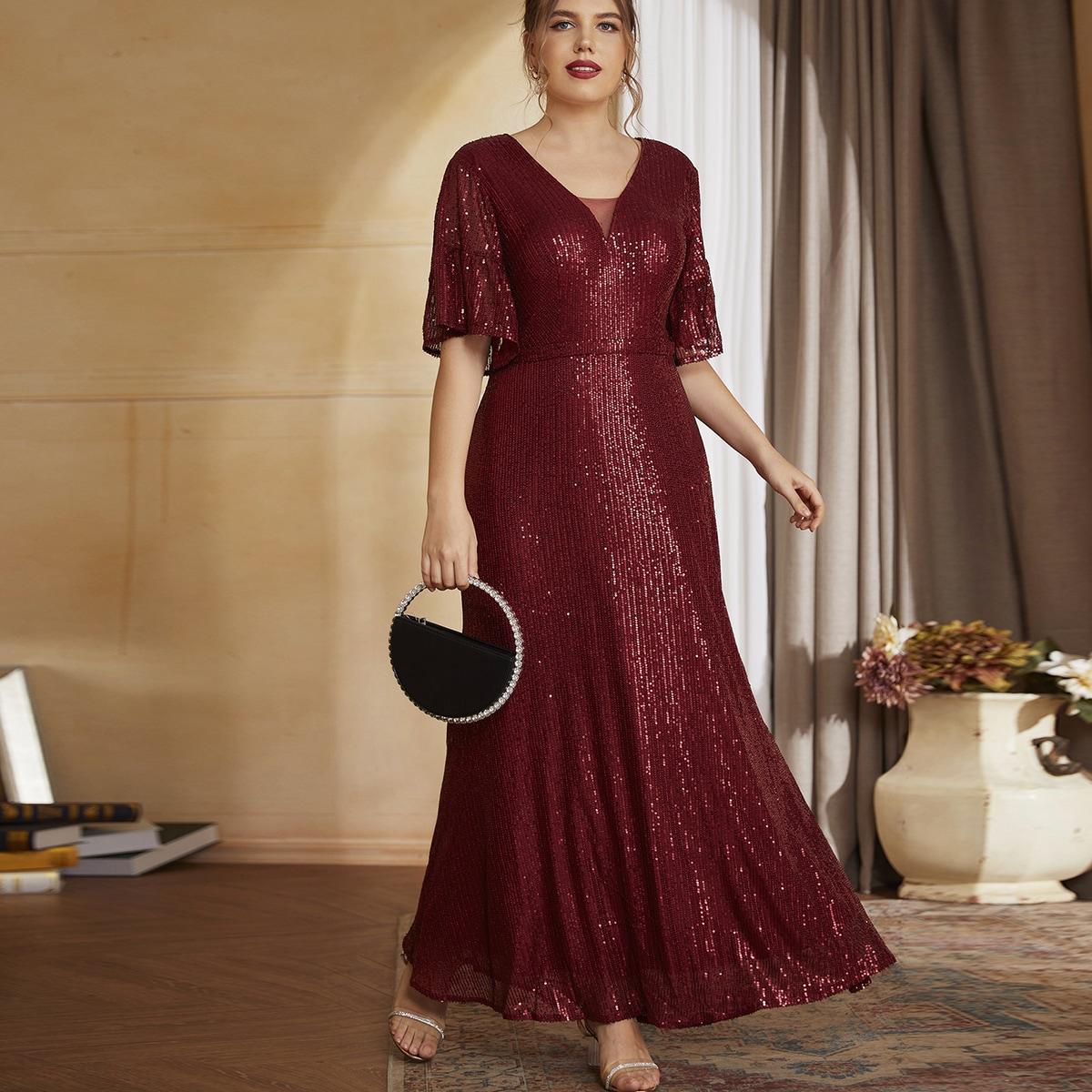 Контрастные блестки с оборками Одноцветный Очаровательный Платья размер плюс