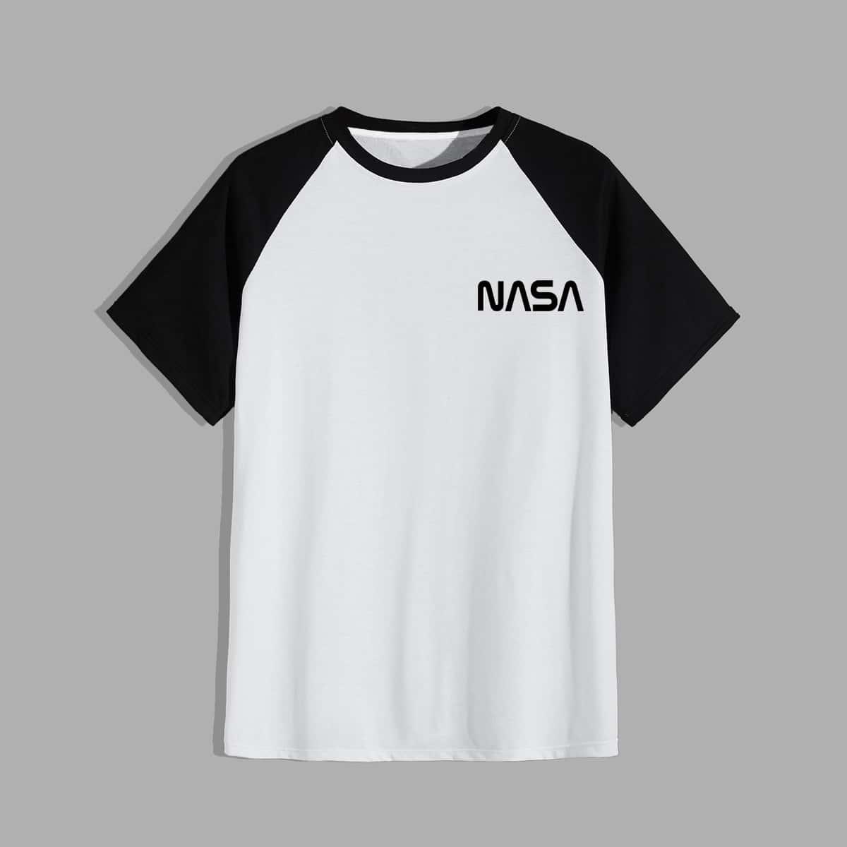 Camiseta con estampado de letra de manga raglán