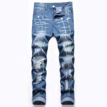Guys Splash Print Ripped Jeans