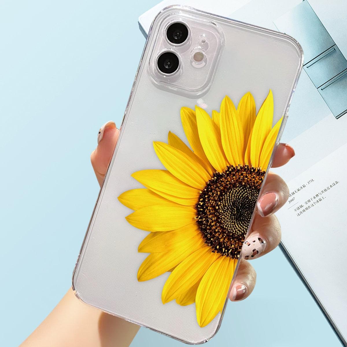 Sunflower Print Clear Phone Case