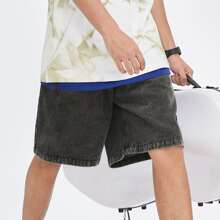 Guys Patched Detail Bermuda Denim Shorts Without Chain