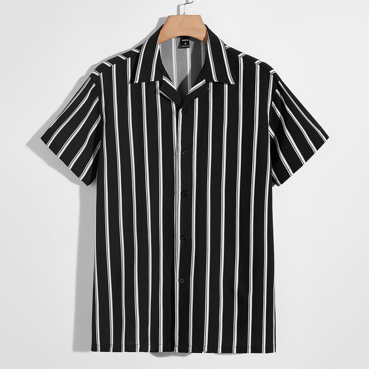 Мужской Рубашка с лацканами в полоску SheIn smshirt07210608631