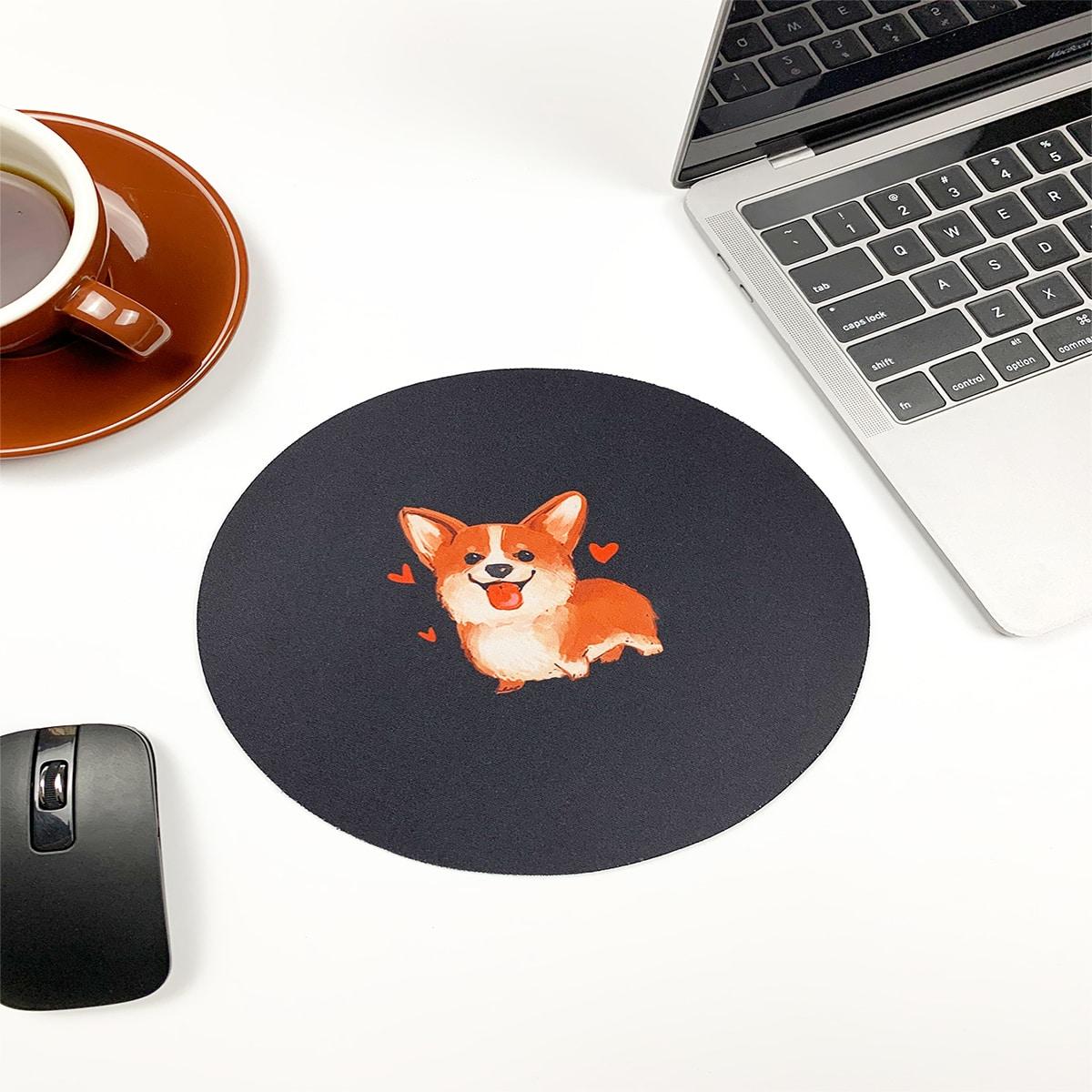 Круглый коврик для мыши с принтом собаки