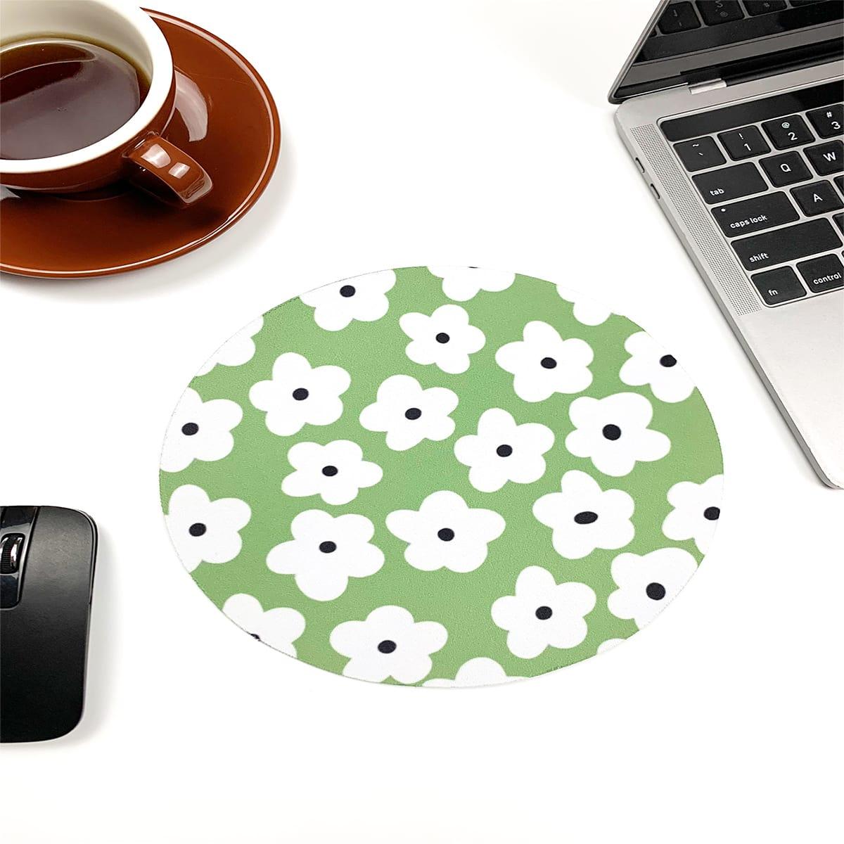 Круглый коврик для мыши с цветочным принтом