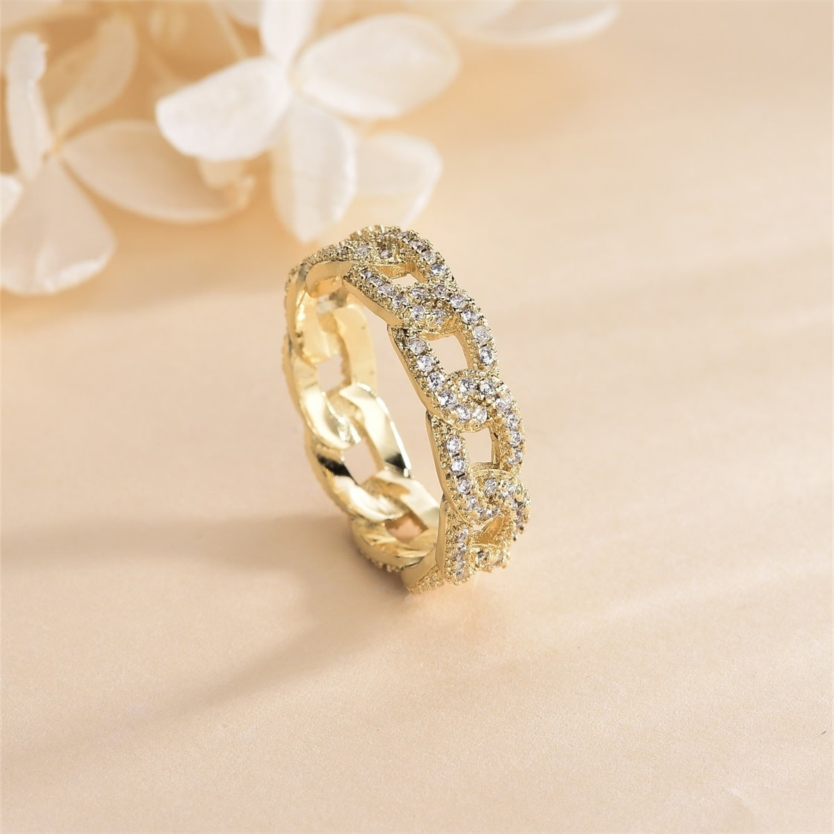 18K Позолоченное кольцо в форме цепи с цирконом