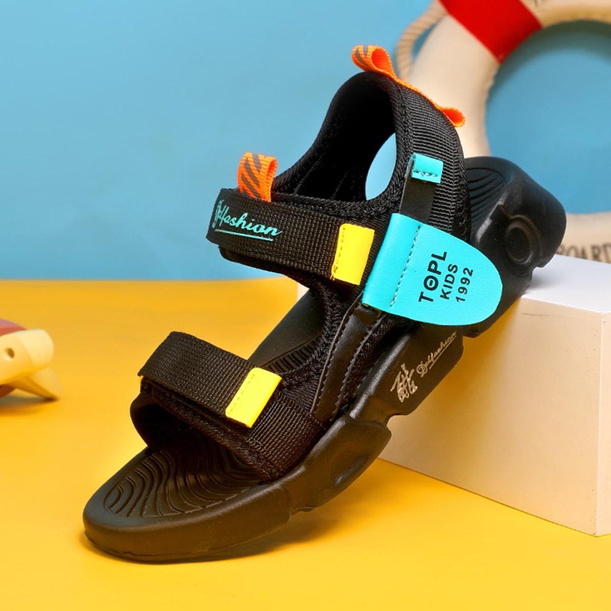 Спортивные сандалии для мальчиков с текстовым рисунком SheIn skshoes25210617546