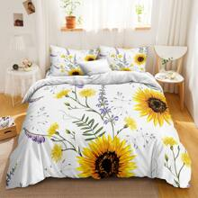 Sunflower Print Duvet Cover Sets Without Filler