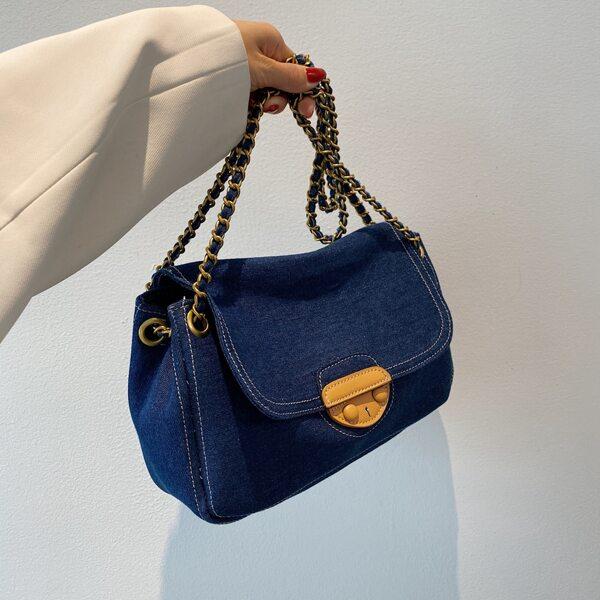 Minimalist Flap Denim Baguette Bag, Navy blue