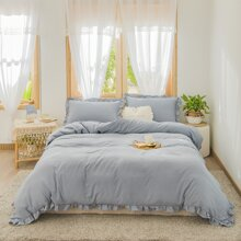 Ruffle Trim Duvet Cover Sets Without Filler