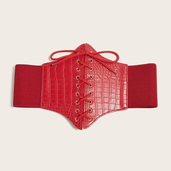 Croc Embossed Corset Belt, Red