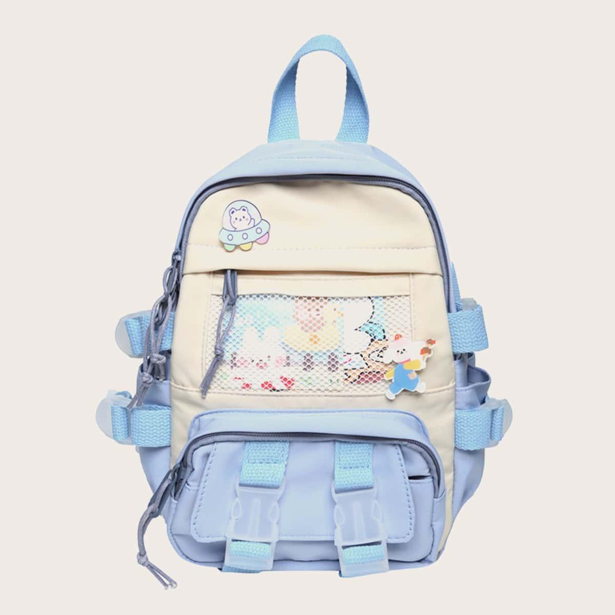 Двухцветная школьная сумка с сетчатой вставкой