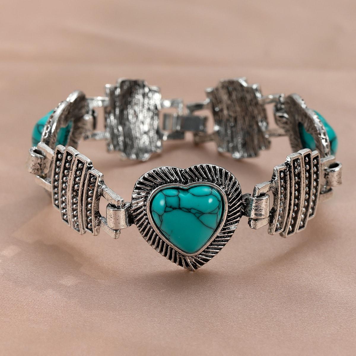 Металлический браслет в форме сердца