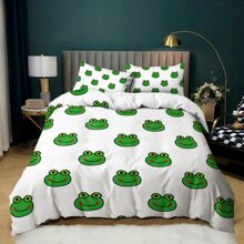 Cartoon Frog Print Duvet Cover Set Without Filler