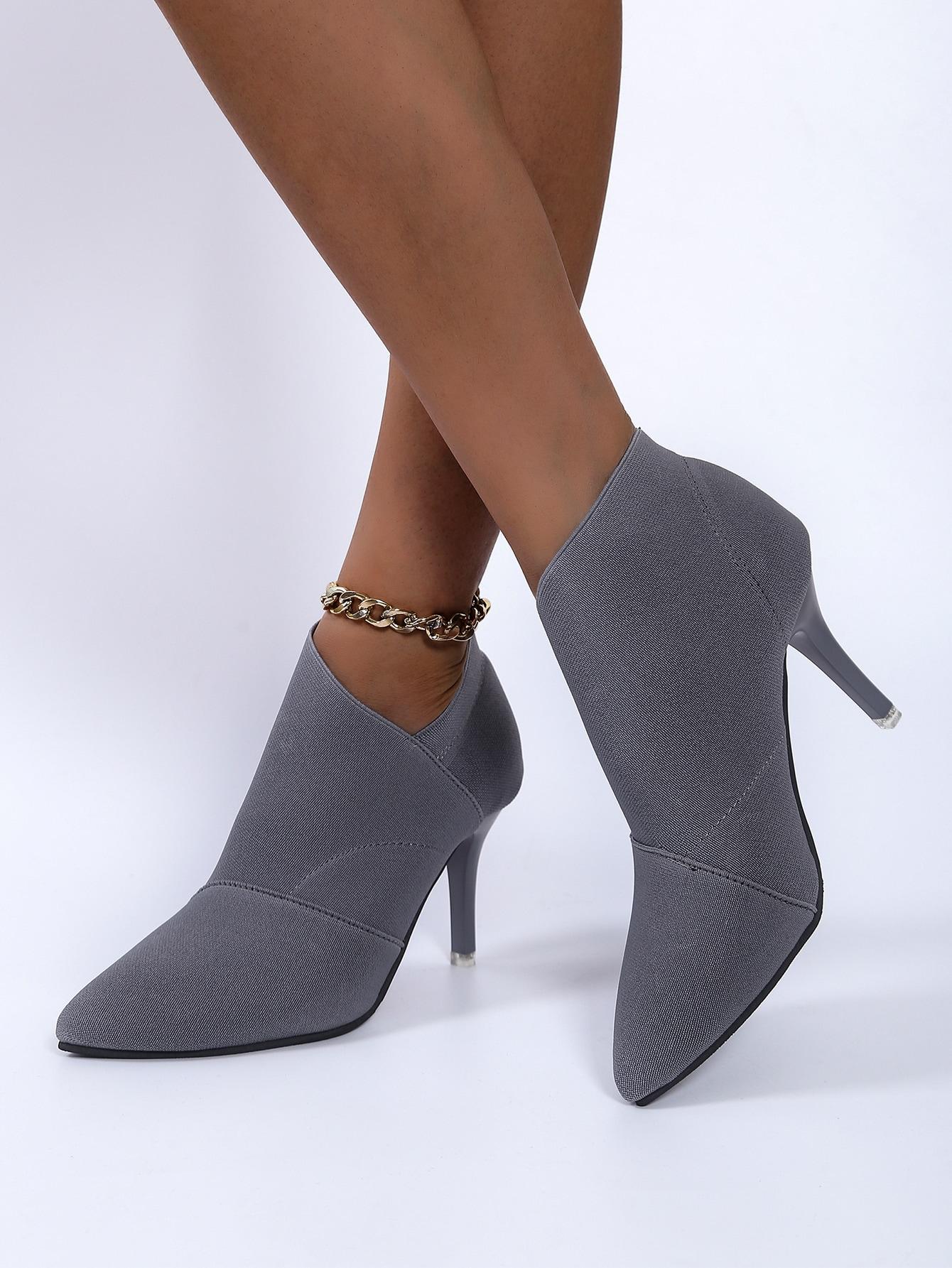 Point Toe Stiletto Heeled Boots
