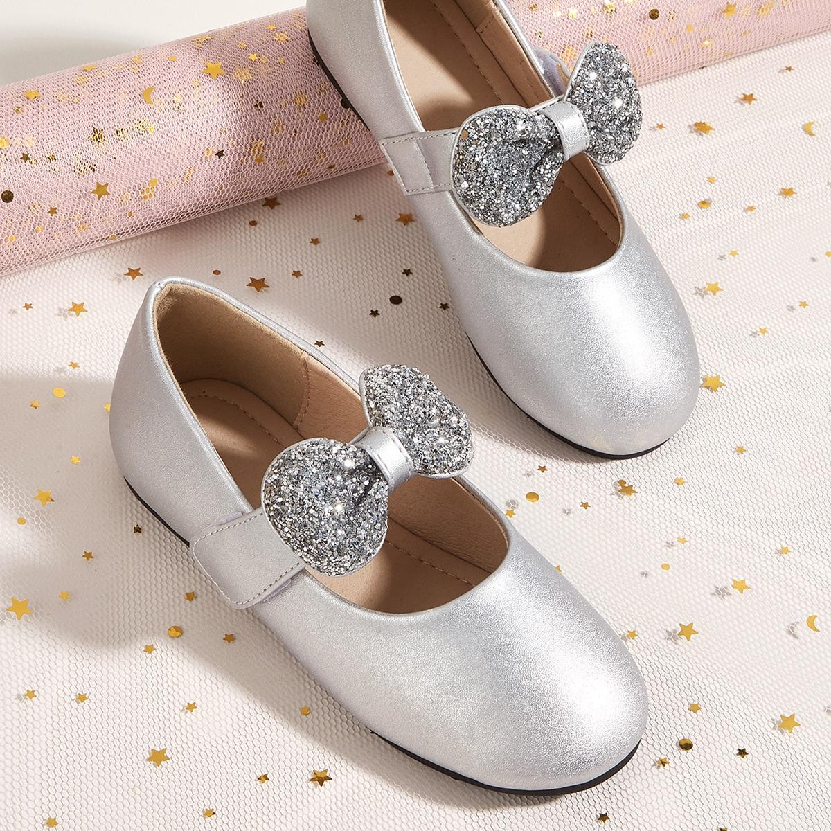 Блестящие туфли мэри джейн с бантом для девочек от SHEIN
