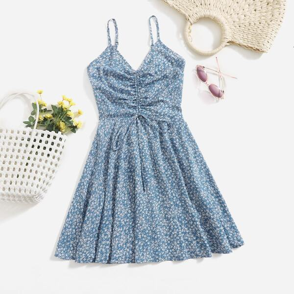 Ruched Drawstring Front Shirred Ditsy Floral Cami Dress, Dusty blue