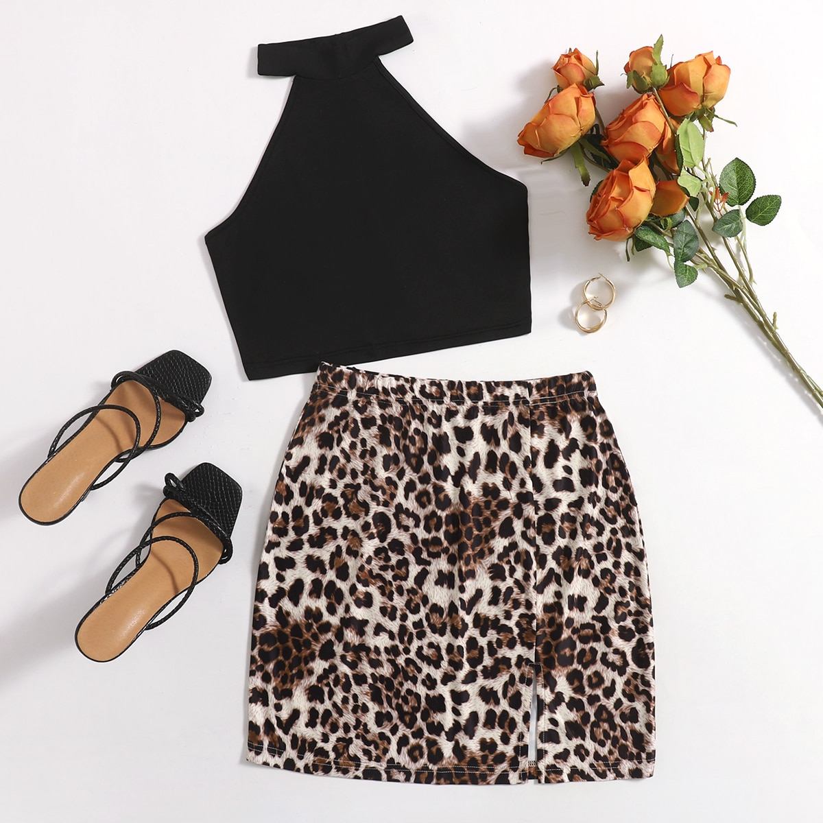 Plus Crop Halter Top With Leopard Bodycon Skirt, SHEIN  - buy with discount
