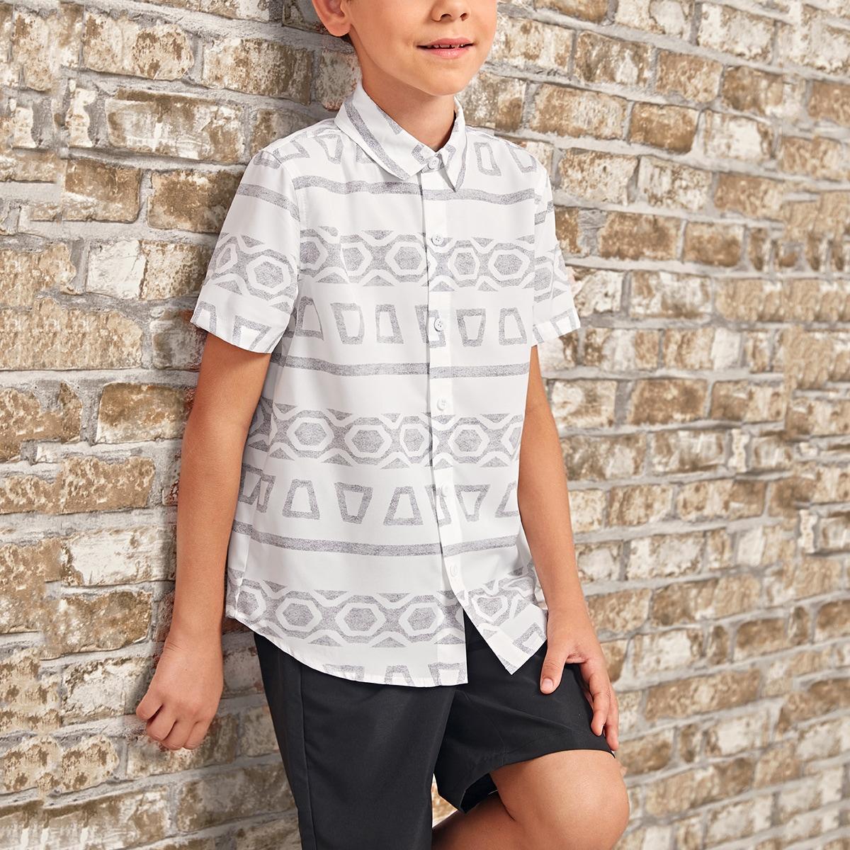 для мальчиков Рубашка с геометрическим принтом изогнутый подол