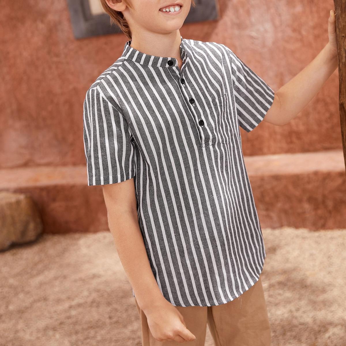 Рубашка из 60% хлопка в полоску с пуговицами для мальчиков
