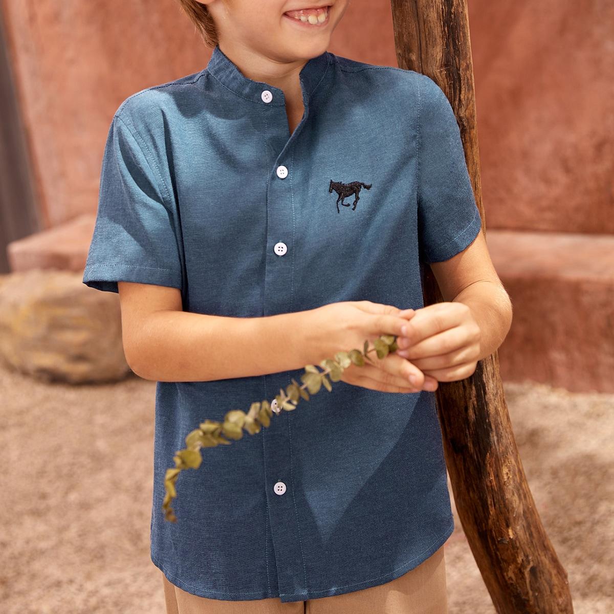 Рубашка из 50% хлопка с вышивкой лошади для мальчиков