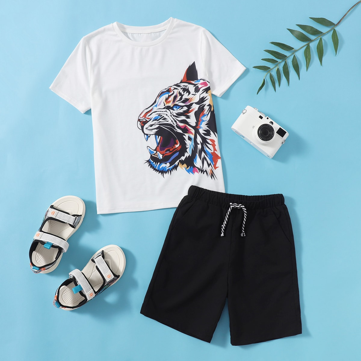 Boys Tiger Print Tee & Drawstring Track Shorts, SHEIN  - buy with discount