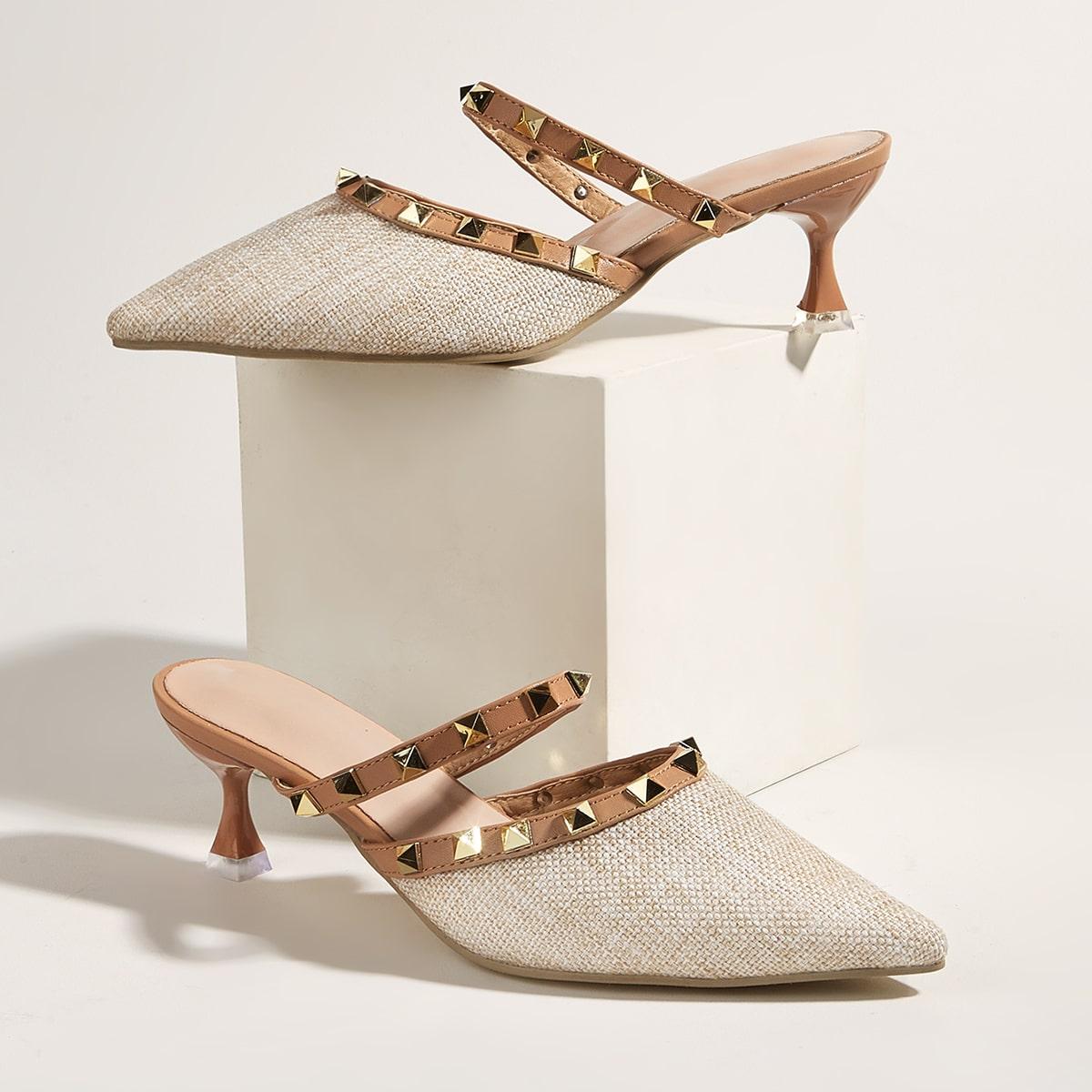 Мюли на каблуке с заклепками