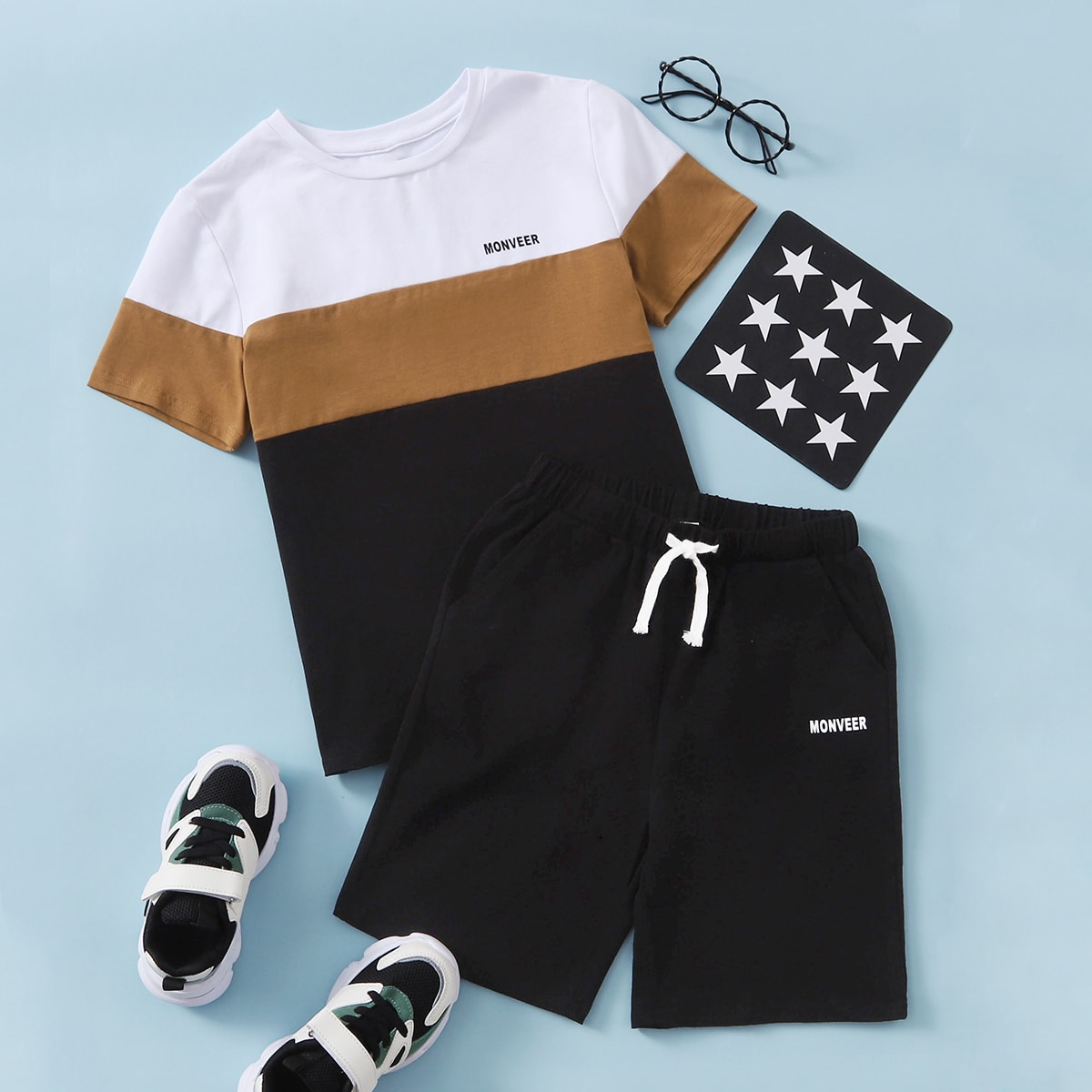 Boys Color Block Tee & Track Shorts, SHEIN  - buy with discount
