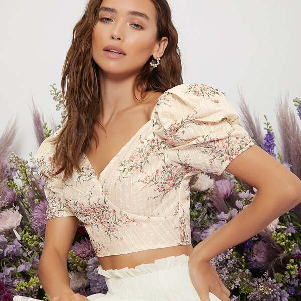 Floral Print Puff Sleeve Embroidery Crop Top, Beige