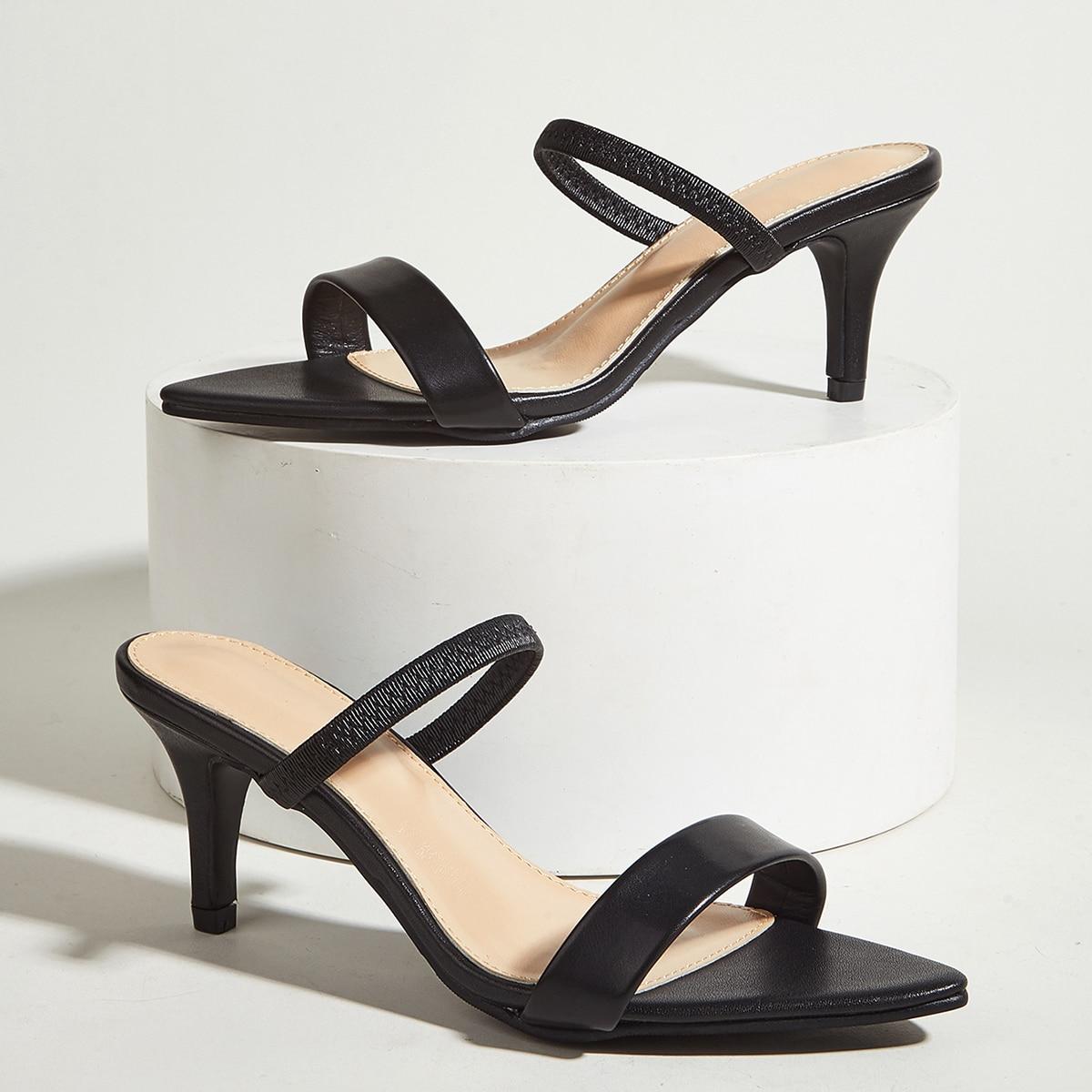 Минималистичные мюли на среднем каблуке с двойным ремешком