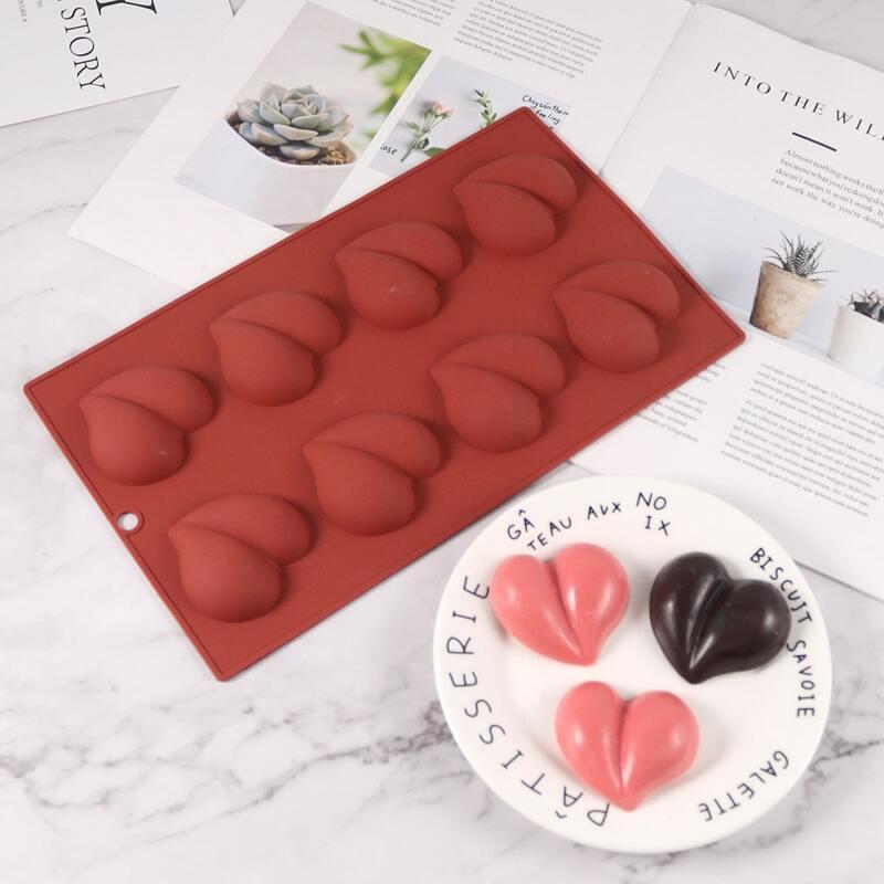 1pc 8 Grid Heart Chocolate Mold, Burgundy