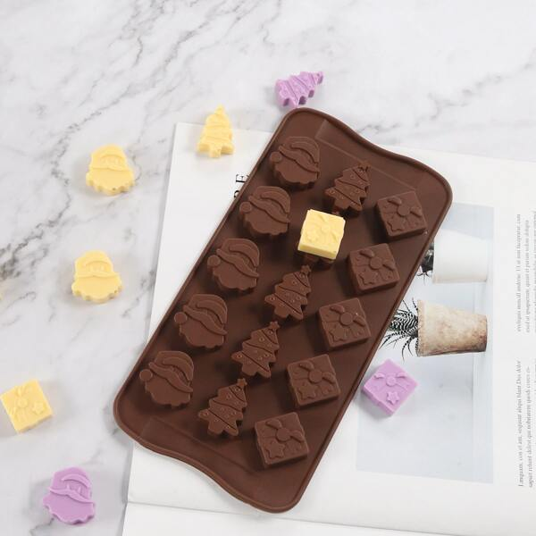 1pc Christmas 15 Grid Chocolate Mold, Chocolate brown