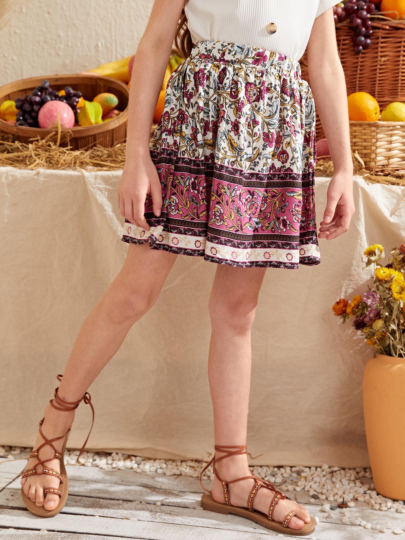 Girls Floral Flared Skirt