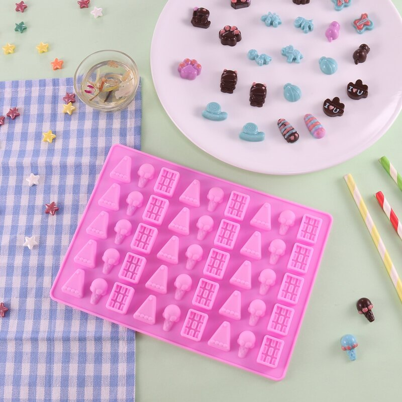 1pc 45 Grid Chocolate Mold, Pink