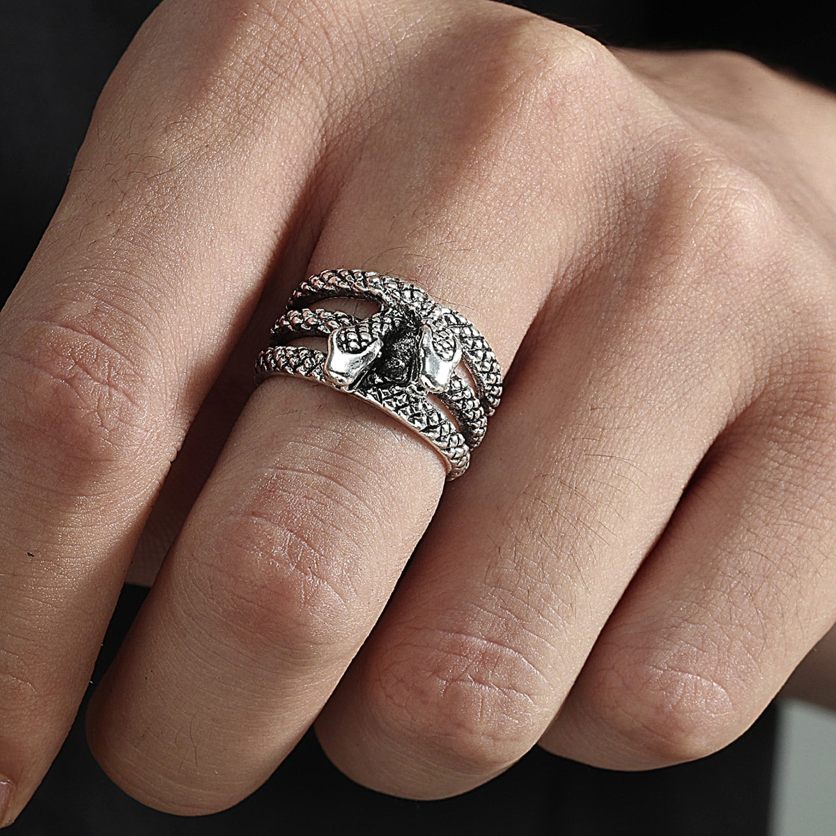 Men Hollow Out Cuff Ring