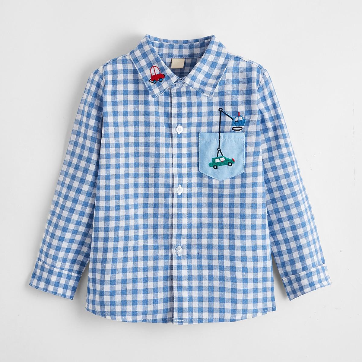 для мальчиков Рубашка машина вышивкой в клетку