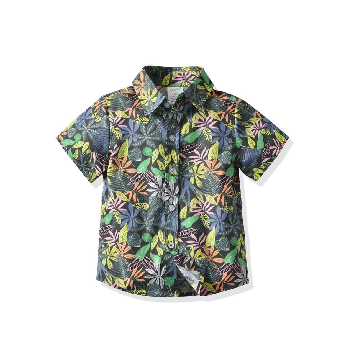 Рубашка с тропическим принтом на пуговицах для мальчиков