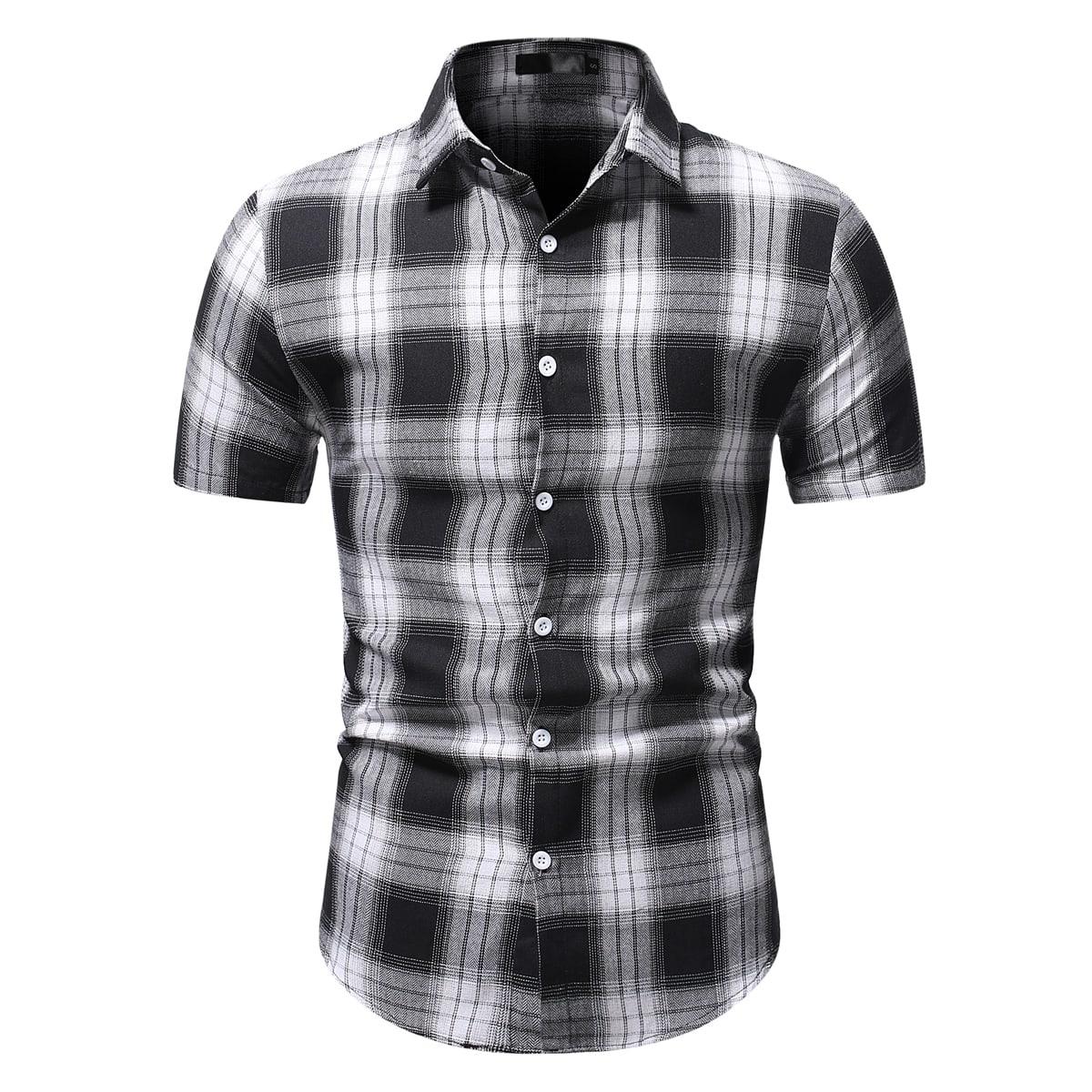 Мужской Рубашка в клетку на пуговицах SheIn smshirt25210513502