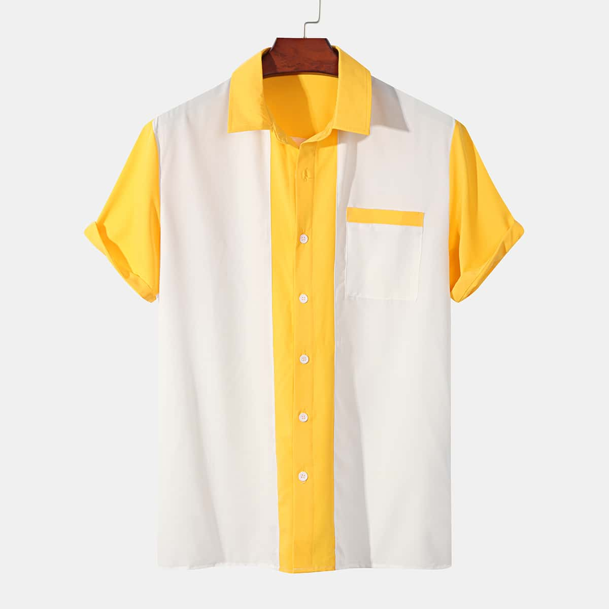Men Color Block Pocket Front Shirt, SHEIN  - buy with discount