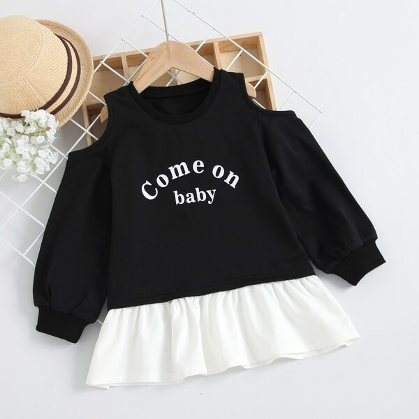 Toddler Girls Slogan Graphic Cold Shoulder Ruffle Hem Sweatshirt Dress, Black