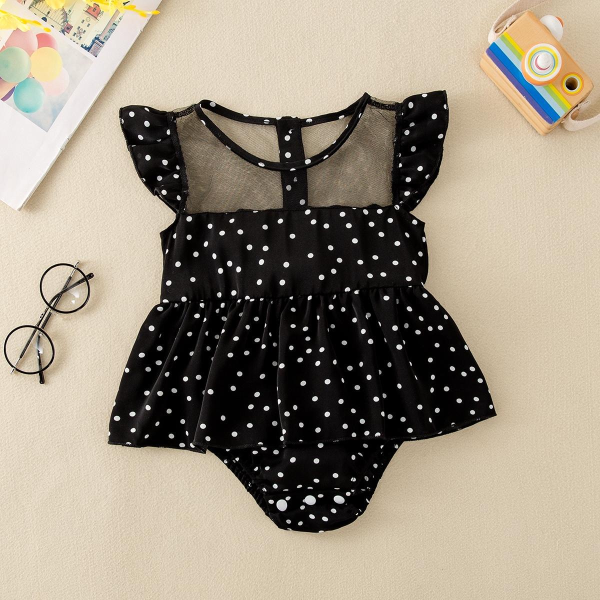 для девочек в горошек с сетчатой отделкой Составной комплект Боди Платье от SHEIN
