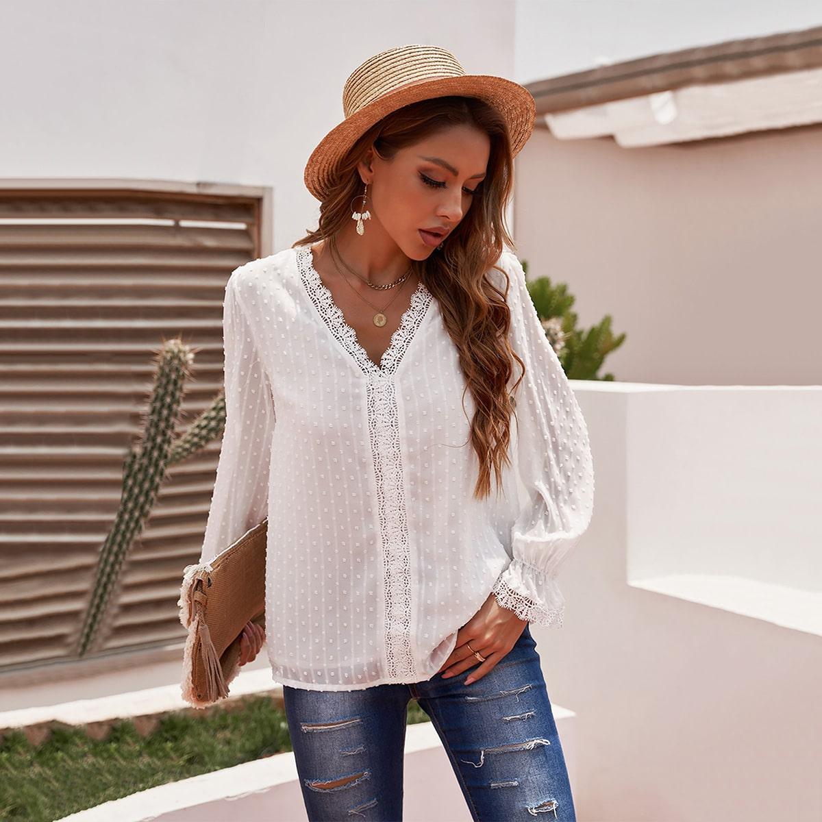 Блуза с кружевной отделкой в горошек с рукавами-воланами SheIn swblouse23210615663