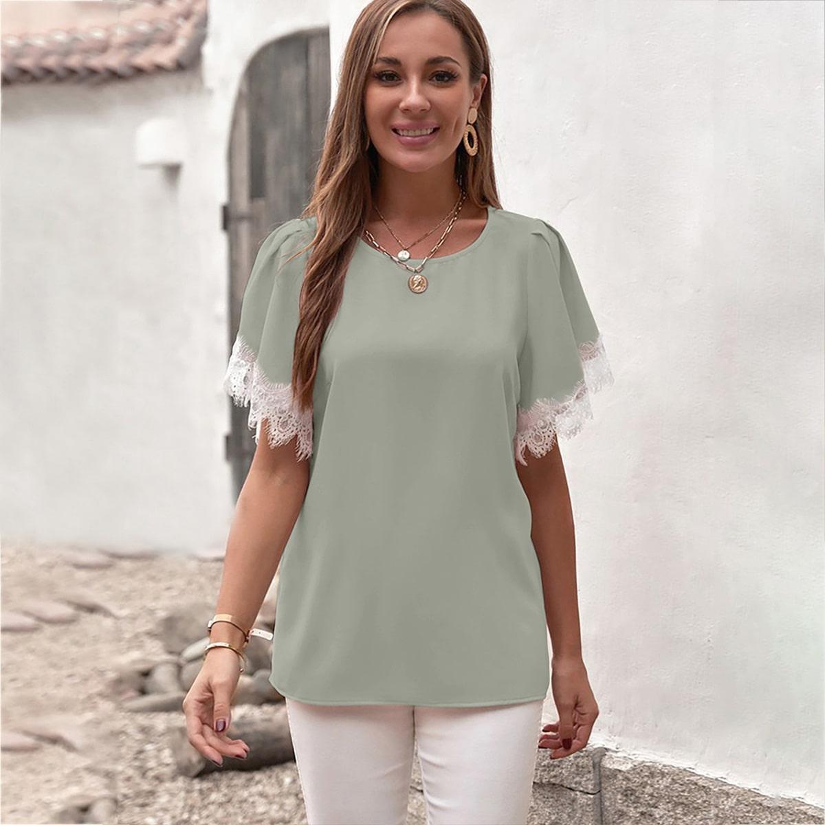 Блуза с кружевом SheIn swblouse23210615425