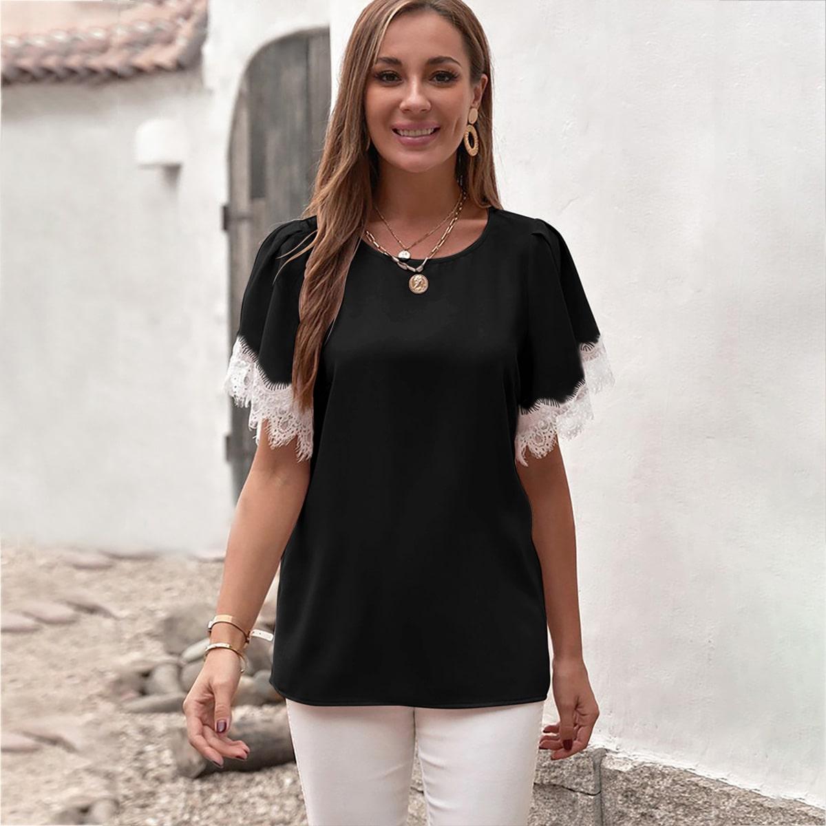 Блуза с кружевом SheIn swblouse23210615292