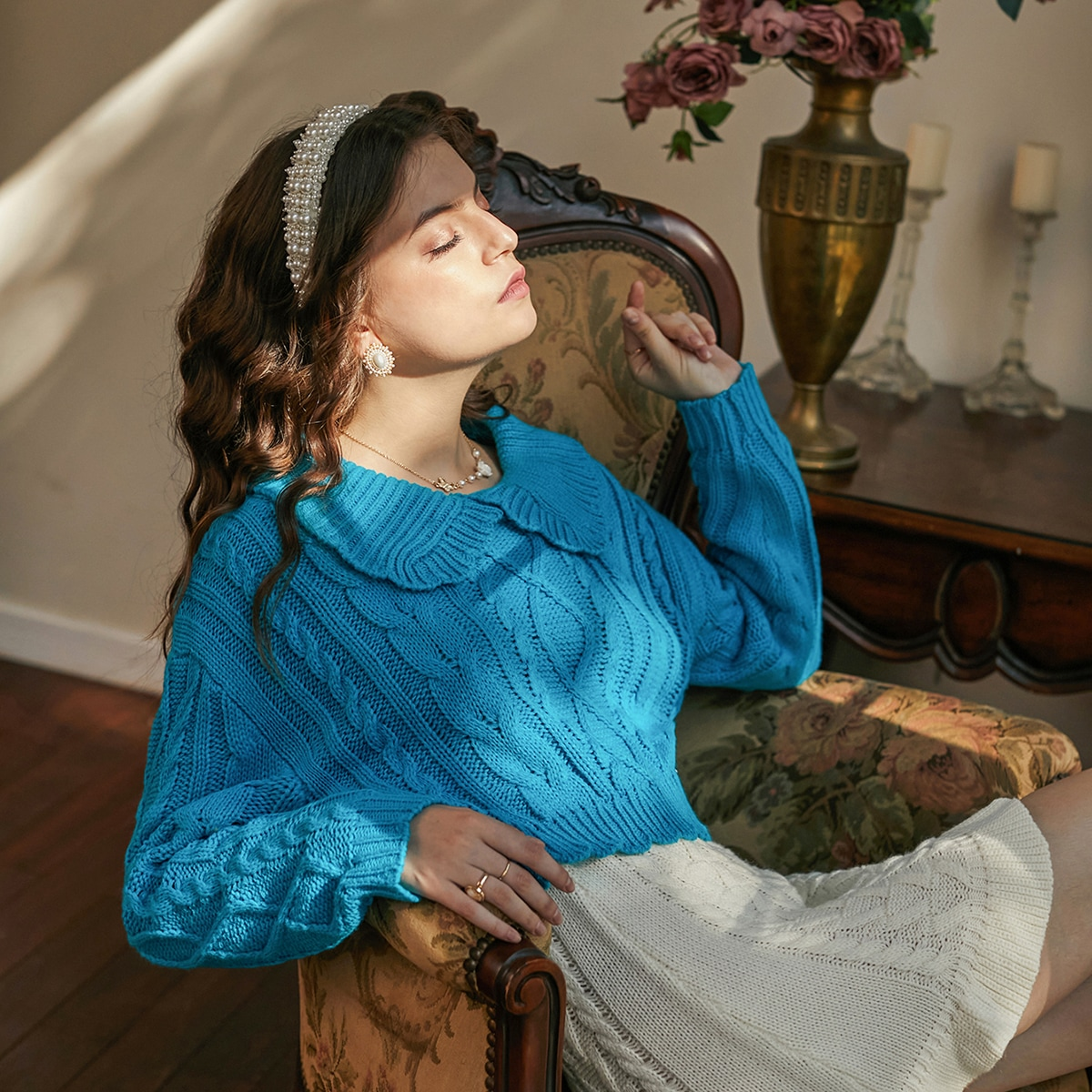 Peter Pan Collar Cable Knit Sweater, SHEIN  - buy with discount