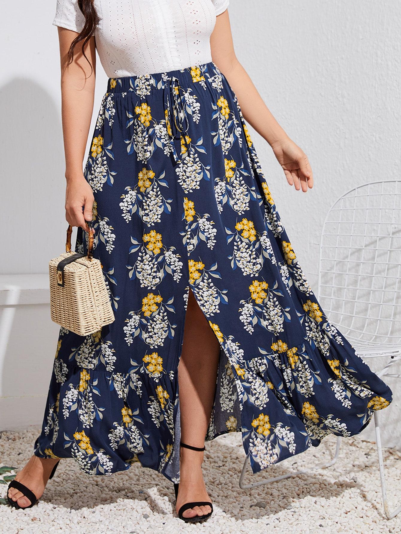 Plus Floral Print Split Ruffle Hem Skirt